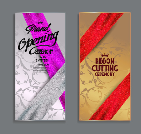 Set of banners for grand opening ceremony with sparkling ribbons and floral design background. illustration.