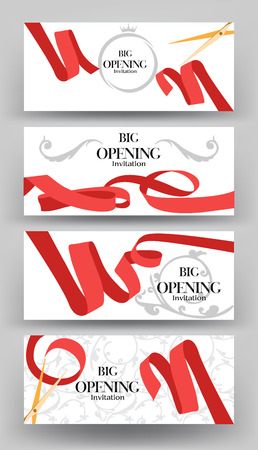opening: Set of banners for big opening ceremony with red curled ribbons. illustration. Flat design