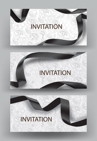 silk ribbon: Set of elegant horizontal invitation cards with black silk ribbon on the floral design background. illustration