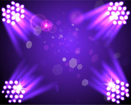 Stage spotlights on the dark purple background. illustration Illustration