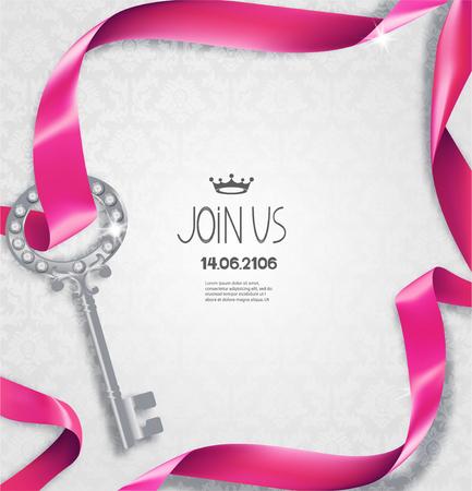 Elegant invitation card with silk pink curled ribbon, floral design background and key Illustration