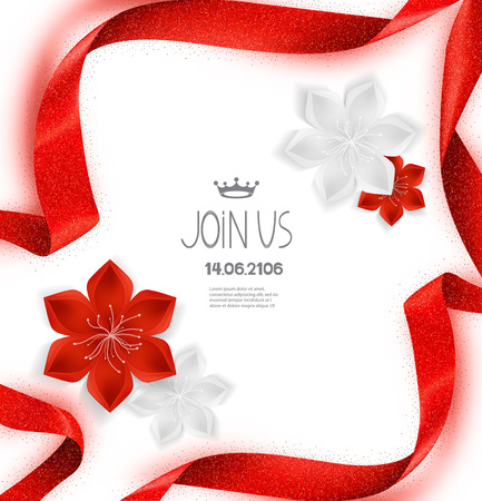 Elegant invitation card with red sparkling curled ribbon and flowers