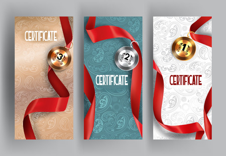 Set of elegant vertical certificates and medals with red silk ribbon on the floral background. illustration Illustration