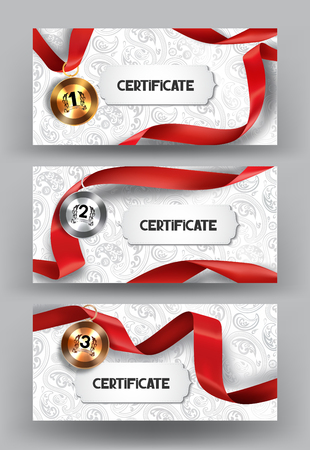 Set of elegant certificates and medals with red silk ribbon on the floral background. illustration