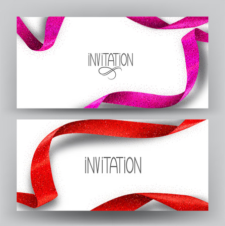 Elegant invitation banners with sparkling ribbons