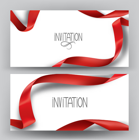 Elegant invitation banners with silk red ribbons