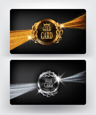 platinum: Vip gold and silver card with sparkling ribbons. illustration