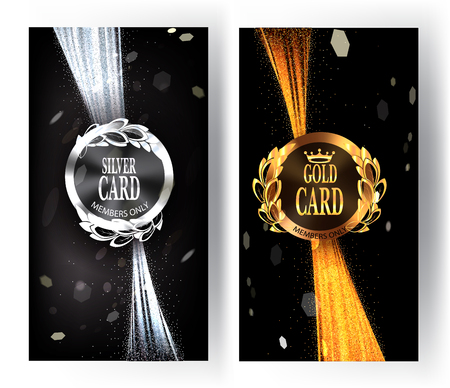 platinum: Vip invitation gold and silver card with sparkling ribbons. illustration