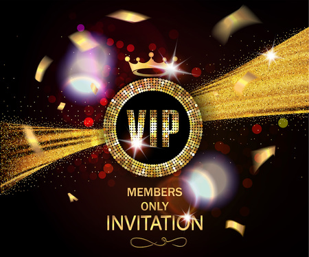 VIP invitation card with gold confetti and sparkling ribbon and glowing background