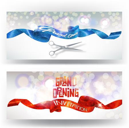グランドオープニングのカードを赤と青のキラキラ リボンとはさみ。 図