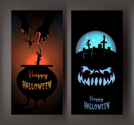 FUNNY BANNERS WITH HALLOWEEN DESIGN OBJECTS. VECTOR ILLUSTRATION Çizim