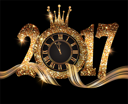 retro illustration: 2017 New Year composition with gold clock and numbers. Gold paper texture. Vector illustration Illustration