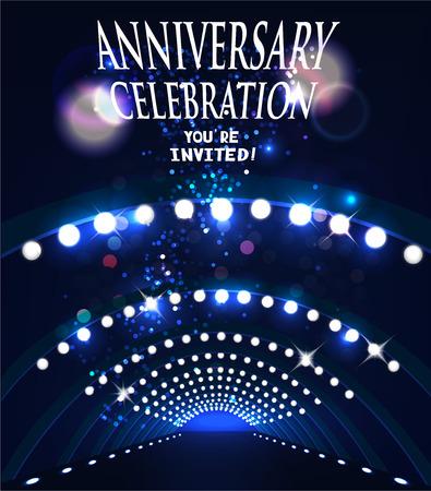 ANNIVERSARY CELEBRATION INVITATION CARD WITH STAGE SPOTLIGHTS. VECTOR ILLUSTRATION Illustration