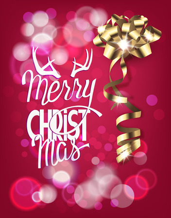 Christmas greeting card with realistic bow and blurred background. Vector illustration