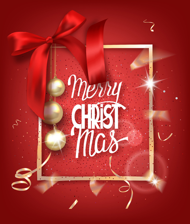 MERRY CHRISTMAS RED BACKGROUND WITH GOLD FRAME, BALLS AND SILK BOW
