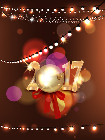 gold numbers: New year composition with ball, silk bow, gold numbers and garland of lights