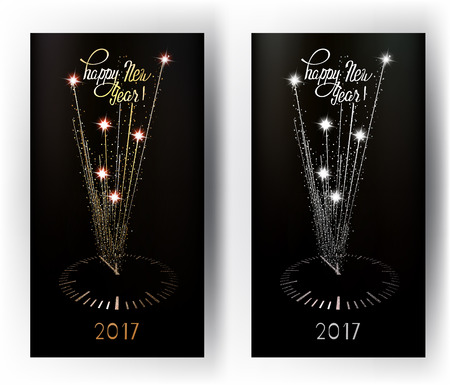 New Year greeting gold and silver cards with abstract sparkling clock. Vector illustration
