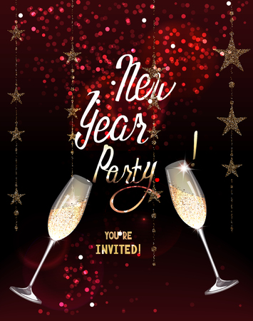 new year party invitation card with sparkling gold garlands and glasses of champagne vector illustration
