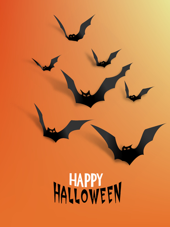 nocturne: Paper bats with realistic shadows on the orange background. Halloween background. Vector illustration