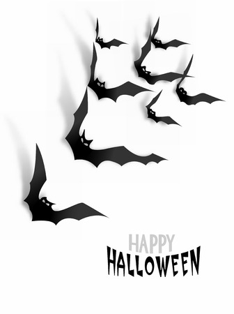 nocturne: Paper bats with realistic shadows on the white wall. Halloween background. Vector illustration Illustration