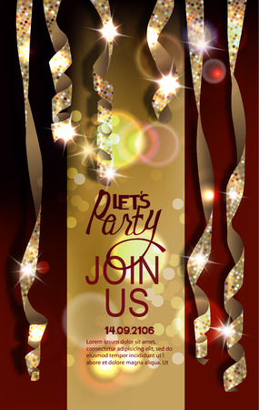 Party invitation card with realistic shiny serpentine. Vector illustration Illustration