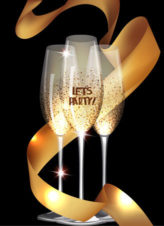 Party invitation card with sparkling glasses and gold curly ribbon Illustration