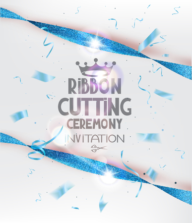 Ribbon cutting ceremony invitation card with blue sparkling ribbons and confetti. Vector illustration