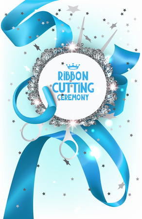 Ribbon cutting ceremony with blue satin ribbon, scissors and silver sparkling frame. Vector illustration