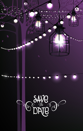 illustration invitation: Save The Date. Invitation card. Park illumination. Vector Illustration Illustration