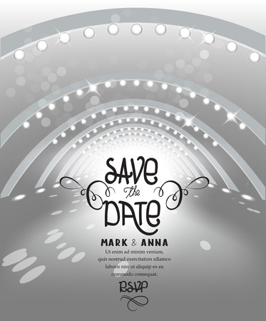 Save The Date. Invitation for wedding card. Stage illumination. Vector Illustration Illustration