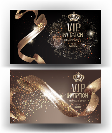 VIP Invitation banners with sparkling curly ribbons and crowns. Vector illustration