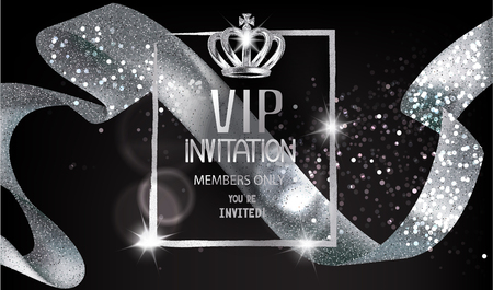 VIP Invitation card with sparkling silver curly ribbon, frame and crown. Vector illustration Vectores
