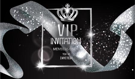 VIP-uitnodigingskaart met sprankelend zilver krullend lint, frame en kroon. Vector illustratie