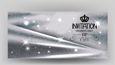 platinum: VIP Invitation card with sparkling silver fabric. Vector illustration