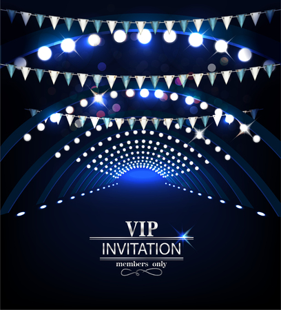 VIP Invitation card. Holiday background with stage lights Vectores