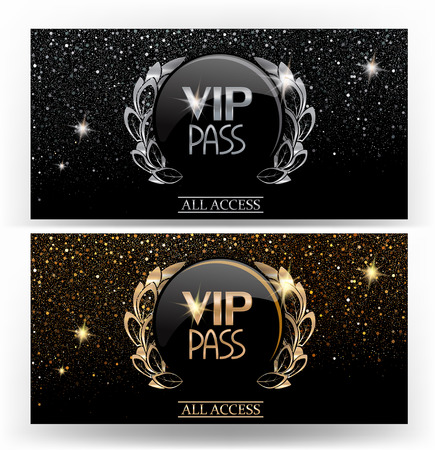 vip PASS sparkling gold and silver cards. Vector illustration