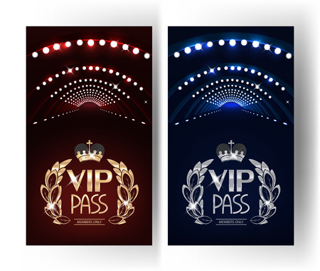 VIP PASSES with stage lights. Vector Illustration