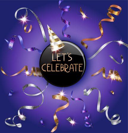 Holiday purple background with sparkling realistic serpentine and party hat