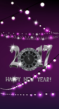 Magic new year composition with sparkling silver clock and garlands of lights on the purple background. Vector illustration