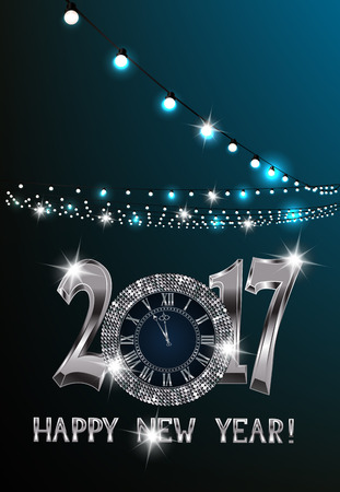 platinum: Magic new year composition with sparkling silver clock and garlands of lights. Vector illustration