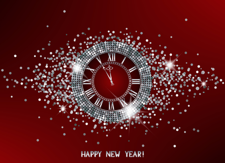 Magic new year composition with sparkling silver clock. Vector illustration