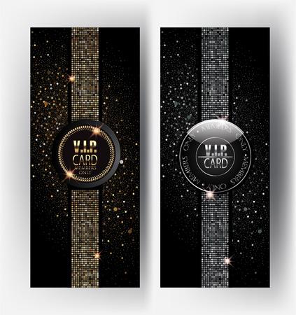 Goud en zilver VIP-kaarten met sprankelende achtergrond. vector illustratie