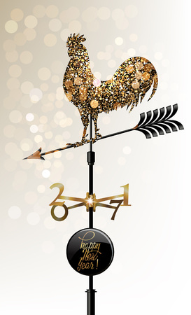 Gold sparkling rooster, vane silhouette. New Year 2017. Vector illustration