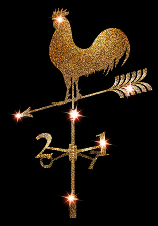 Gold sparkling vane with rooster silhouette. New Year 2017. Vector illustration