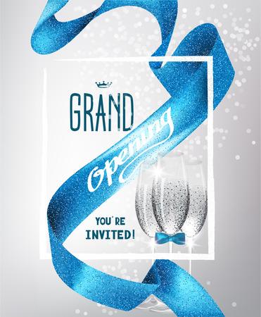 グランド オープンの背景青のキラキラ リボン、シャンパンとフレームのメガネに