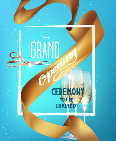 sparkling: GRAND OPENING BACKGROUND WITH GOLD SILK RIBBON, GLASSES OF CHAMPAGNE AND FRAME
