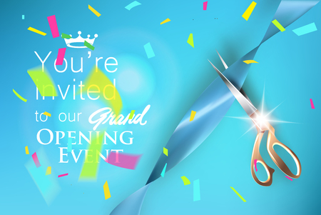 Grand opening blue invitation card with satin ribbon, colorful confetti and scissors. Vector illustration Vettoriali