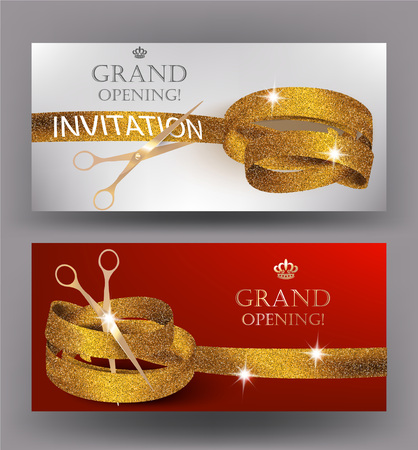 Grand opening gold curly ribbons and scissor. Horizontal banners. Vector illustration Illusztráció