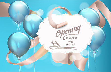 Grand opening invitation card with satin curled beige ribbon and blue air balloons. Vector illustration