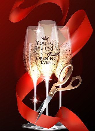 Grand opening Party invitation card with sparkling glasses, red curly ribbon and scissors